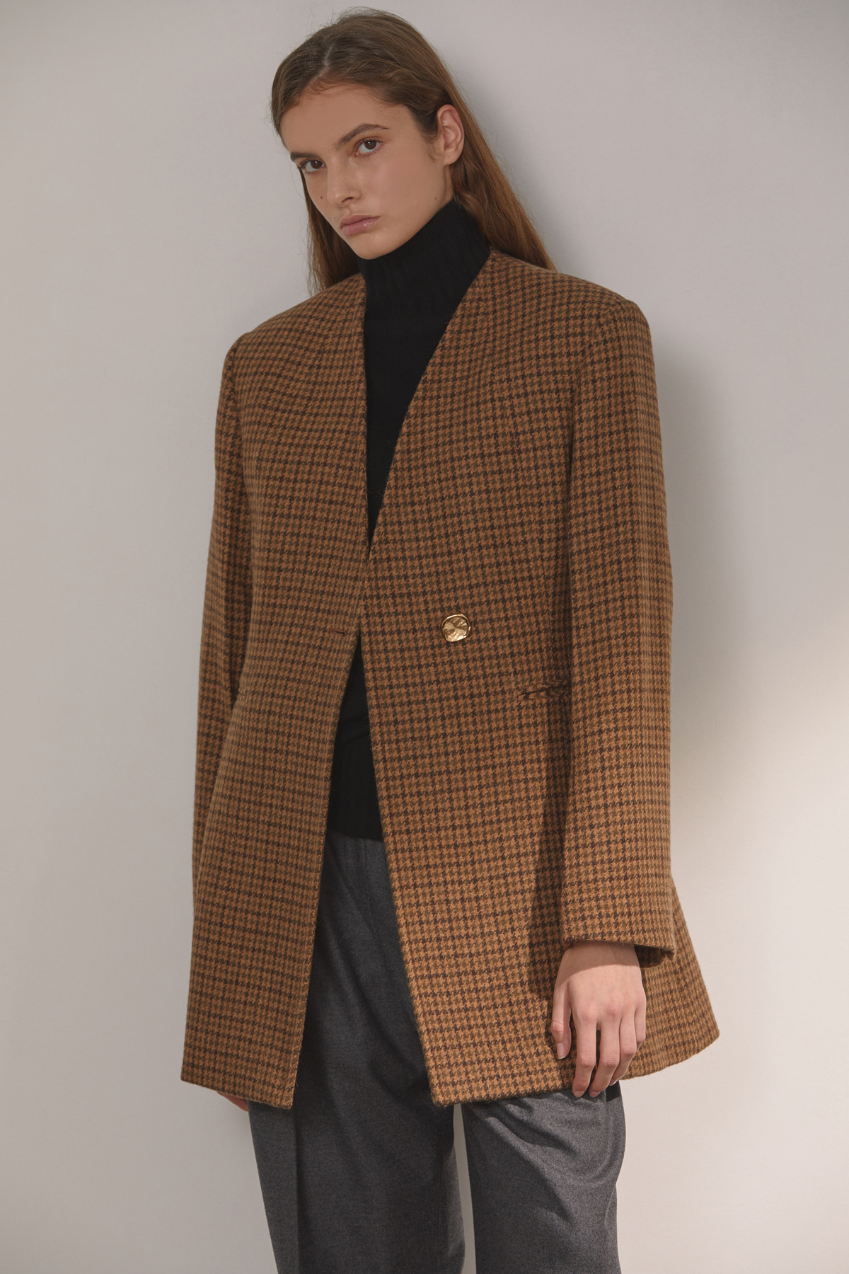 DEMERE COLLARLESS BELTED JACKET (CHECK BROWN)